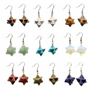 여자를위한 새로운 천연 보석 스톤 Merkabah 스타 드롭 귀걸이 핑크 크리스탈 Lazuli Polyhedral Reiki Eardrop Jewelry