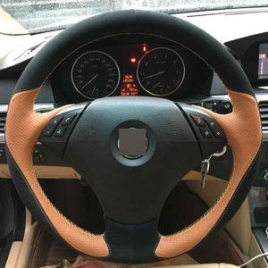 Diy mão-costurado volante capa de couro orang preto camurça para bmw e60 e61 520i 520li 523 523 523li 525 525i 530 530i 535