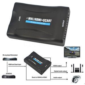 Freeshipping 1080P HDMI ل SCART فيديو أغنية محول الراقي AV إشارة محول HD استقبال التلفزيون دي في دي الولايات المتحدة / الاتحاد الأوروبي قابس الطاقة