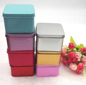 مربع شعبية القصدير مربع تخزين المعادن حالة فارغة المنظم خبأ 5 ألوان 6.5 سنتيمتر الطول للمجوهرات المال عملة الحلوى مفاتيح يو القرص سماعات
