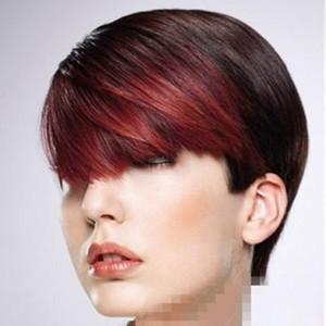 Natural Two Tone point culminant rouge frange brésilienne sans colle perruques de cheveux humains 130 densité sans dentelle perruque 1B # rouge # Omber plein Lace Front perruques humaines