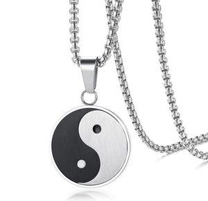 Collana pendente del pendente di Yin Yang di acciaio inossidabile 316L di trasporto libero con la catena libera 24
