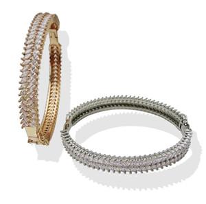 Brazaletes de oro y plata para mujeres, hombres, joyería de moda, pulsera de amor de lujo