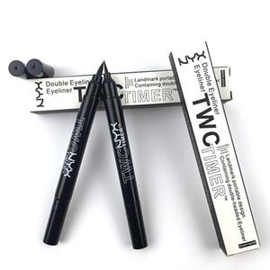 Kosmetik NYX TWC Eyeliner Bleistifte Marke Wasserdichte Langlebige Doppelkopf Timer Eye Liner Bleistift Schwarz Farbe Schönheit Augen Make-Up Kugelschreiber