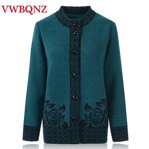Donne anziane di mezza età maglieria cardigan autunno inverno sciolto big size maglione caldo monopetto femminile maglia abiti casual 6XL