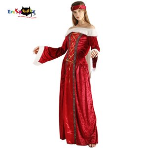 2018 Red Renaissance Medieval Dress Donne Sexy Costume di Halloween per le donne Queen Lady Vintage Royal abiti lunghi Ball Gown Velet
