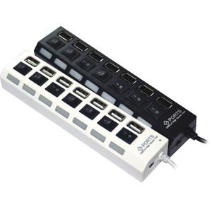 USB 2.0 HUB Güç Şeridi 7 Port Soket LED Işık UP Konsantratörü Anahtarı klavye ile AC adaptörü için Fare klavye Şarj PC Masaüstü Dizüstü Tablet