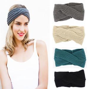 New Sólidos Crochet Knitting Headbands Inverno Mulheres Bohemia Tecelagem Cross Headbands Ear Warmer 11 Cores Handmade Hairbands