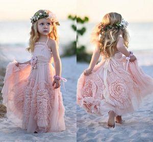 Flower Girl Dress con pieghe modello gonna Country Girl Pagenat Beach Vocazione Dress