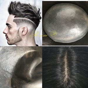 Mens Toupee Thin Skin PU Toupee Hairpiece Replacement Systems capelli V-loop