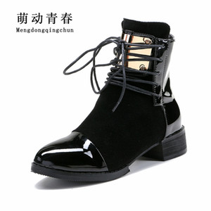 35-43 Women Boots Genuine Leather Flat  Ankle Boots Womens Motorcycle Autumn Shoes Women Winter Patent leather Botas