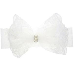 Neonate Bianco pizzo fiocco fascia perle acriliche pizzo bianco puro hairband elastico neonati foto copricapo puntelli B11