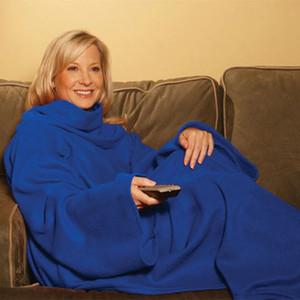 Warm Fleece Blanket Soft Wearable Blanket Sleeves Sofa Blanket Winter Warm Throw Blankets Coral Fleece Blankets 6 Colors Blankets YFA257