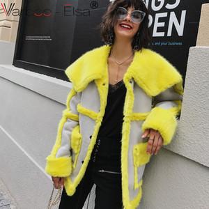 Faux Leather Suede Coat  Leather Jacket Winter Warm yellow Lambs Wool Fur Suede Jackets Shearling Coats Women