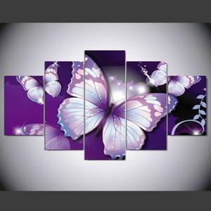 Hd Impreso Imagen Modular Pintura de Lona Grande Para el Dormitorio Sala de estar Decoración de Arte de Pared En Casa 5 Panel Violeta Mariposas