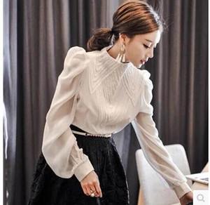 2018 frühling Neue koreanische mode frauen stehkragen langarm hauchhülse stickerei spitze patchwork chiffon OL blusen hemd