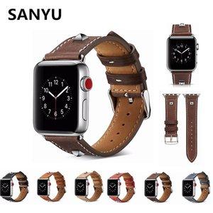 SANYU Silver Nugget Retro Véritable série de bande en cuir 3 2 1 Bracelet Bracelets Boucle