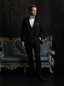 Новый стиль Groomsmen Notch отворот жениха смокинги черные мужские костюмы свадьба / выпускной блейзер / жених (куртка + брюки + жилет + галстук) M569