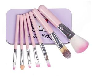 2018 Newest Black Hello Kitty 7Pcs Set di pennelli per trucco Mini Size Cosmetici per il viso professionale Make Up Set di pennelli con scatola di metallo