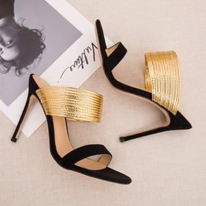 Verano delgado tacones altos zapatillas de oro Tira de metal deslizamiento en punta abierta Sandalias 8CM 10CM talones Sexy Vestido Zapatos Mujer