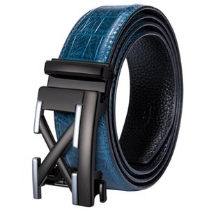 Hi-Tie Casual Designer Blue Leather Belt for Jeans  Crocodile Leather Mens Belt Automatic Buckle Waistband Strap JE-2030