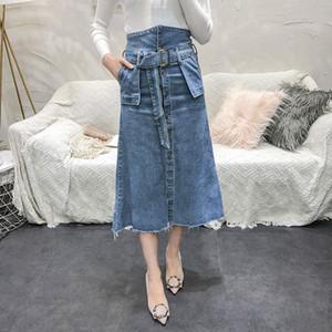 Women Denim skirt 2018 new women high waist denim skirt long A-word skirt female
