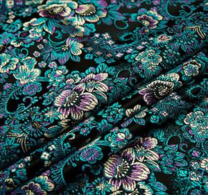 Siyah çiçek Metalik Jakarlı Brocade Fabric, 3D jakarlı kumaş, iplik Kadın Coat Elbise Damask Brocade 75 * 50 cm için kumaş boyalı