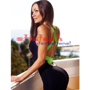 by dhl or ems 200pcs Women Backless Bodysuit Tight Yoga Gym Running Sport Fitness Set Jogging Sportswear Pants Jumpsuit Sets