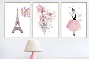 Nordic Flower Pink Fairy Paris Art Flowers 3 Panel Canvas Painting Decoracion Quadro Mural Wall Art Pictures para sala de estar