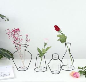 Minimalismo in ferro Vaso con cornice scava fuori vasi in metallo con ripiani in metallo - Ornamenti di decorazioni per la casa giardino (senza occhiali e fiori)