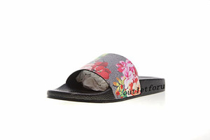 fashion red pink flower blooms slide sandals mens womens causal beach flip flops indoor flats slippers with box