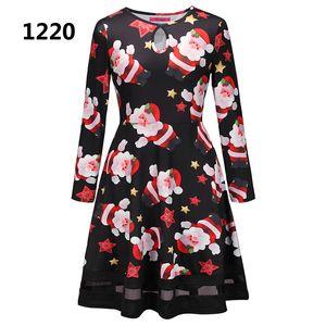 14 Colors Autumn Winter Women Christmas Dress 2018 Plus Size Print Dress Midi Elk Snowflake Long Sleeve A-Line Party Dress