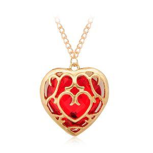 Die Legende von Zelda Blue Red Hohle Herz Anhänger Halskette Liebhaber Paar Anhänger Halskette Geschenke Neuer Film Schmuck