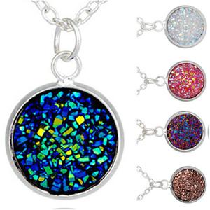 I cristalli argento placcato resina Druzy della collana del pendente della gemma di 6Colors Collana Donne regalo