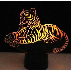3D LED الوهم أضواء الليل النمر مع 7 ألوان ضوء الديكور مصباح المنزل NEW Christmas Decoration # R21