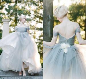 완벽 한 비둘기 회색 어깨 가방 Tulle 공주 공 드레스 웨딩 드레스 수 제 꽃 신부 가운 2018 Vestidos de Novia