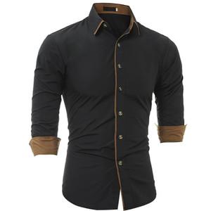 Herrenhemd 2019 Modemarke Herrenmanschette einfarbig langärmeliges Hemd männlich Camisa Masculina beiläufige dünne Chemise Homme XXXL JDEH
