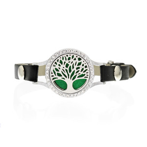 WK4 25mm Aromatherapie Medaillon mit Kristallen Armband Parfüm Medaillon mit schwarzem PU-Lederband Diffusor Medaillon Bracele