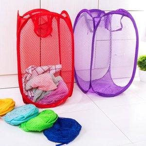 Novas convenientes dobrável tecido de malha de lavanderia cesta de roupa suja familiar cestas armazenamento de roupas de armazenamento fornece T1I594