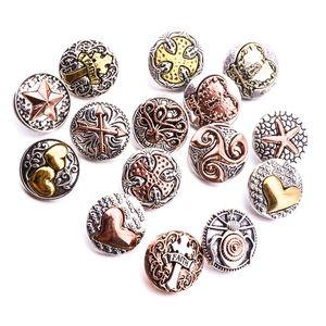 Vintage Noosa Chunks cuore croce 18mm bottoni a pressione per gioielli braccialetto bracciale bottone a scatto