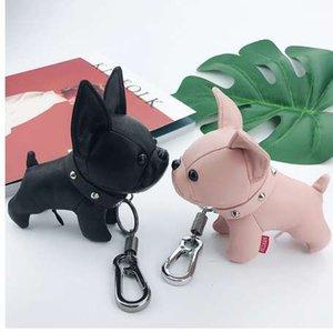 WEIYU Französische Bulldogge Keychain PU Leder Tier Hund Schlüsselanhänger Halter Tasche Charme Schmuckstück Chaveiros Bulldogge Tasche Zubehör Anhänger