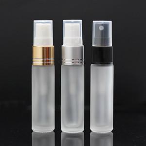 Botellas de aerosol de vidrio esmerilado con pulverizador de niebla fina blanca 10 ml, botellas vacías recargables de cuello dorado plateado negro perfectas para aceites esenciales
