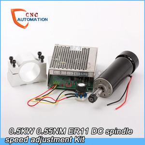 0.55NM 0.5kw Hava soğutmalı mil ER11 Chuck CNC 500 W Mili Motor + 52mm DIY CNC Için kelepçeleri