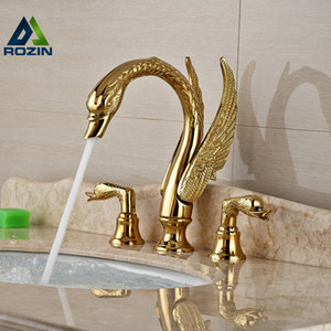 Soild Copper Gold Finish Bathroom Faucet  Golden Swan Shape Basin Tap Dual Handle Deck Mount