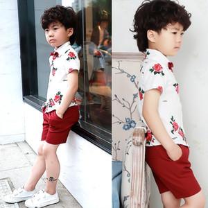 Baby Kids Summer School Suit Gentleman Dress Shirt Shorts Tie Boys Clothing SetFormal Wedding Birthday Party Costume F138