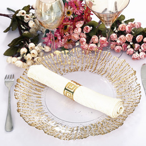 New design Clear Glass Wedding Decoration Wholesale Rose Gold Charger Plate