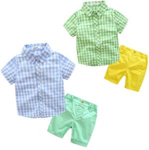 2017 Verão Novos Conjuntos de Menino Xadrez Camisas de Manga Curta + Shorts de Duas Peças Roupas de Moda Roupas Infantis 3-7A