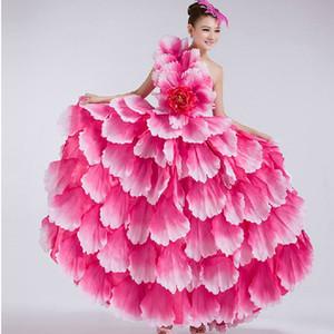Vestido de dança do flamenco espanhola traje de dança pétala flamenco espanhol dress com cocar de flores 540 360