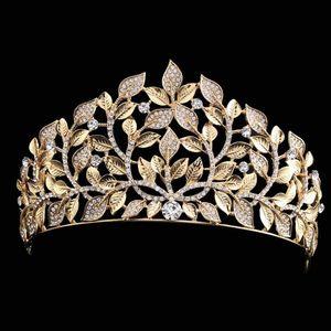 Lüks Gelin Taç Altın Yaprak Rhinestone Kristaller Düğün Taçlar Kristal Kafa Saç Aksesuarları Parti Tiaras Barok chic Tatlı 16