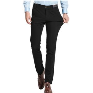 Atacado-ROM ESQUERDA Calça Casual Masculina dos homens Tamanho 38 2017 Stretch Pants Homens Moda Lazer A Melhor Escolha Algodão Top Azul Preto de Negócios